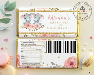 Pink Floral Elephant Twins Girls Baby Shower Birthday Chocolate Bar Wrapper Aldi Hershey's - Editable Template - Instant Download - Digital Printable File - PK2