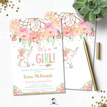 Load image into Gallery viewer, Elephant Baby Girl Shower Boho Pink Floral Dream Catcher Invitation Editable Template - Digital Printable File - Instant Download - BF2