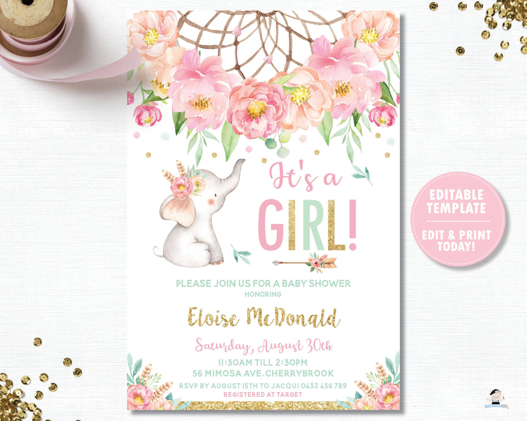 Elephant Baby Girl Shower Boho Pink Floral Dream Catcher Invitation Editable Template - Digital Printable File - Instant Download - BF2