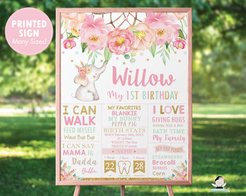 PRINTED Elephant Personalized 1st Birthday Milestone Sign Poster Nursery Wall Art Decor - FREE U.S Shipping - BF2