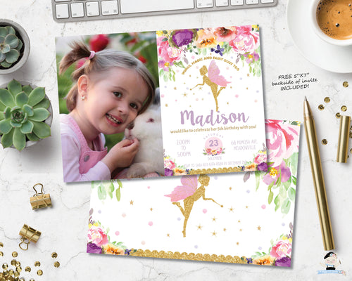Summer Purple Floral Fairy Birthday Party Invitation with Photo - EDITABLE TEMPLATE Instant Download Digital Printable File- FF2