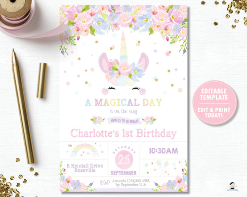 Cute Unicorn Pastel Floral 1st Birthday Party Invitation Editable Template Digital Printable File - Instant Download - UB7