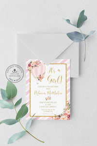 Pink and Gold Floral Hot Air Balloon Baby Shower Invitation Editable Template - Instant Download - Digital Printable File - HB1