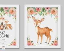 Load image into Gallery viewer, Tribal Floral Deer Fox Teepee Woodland Nursery Wall Art - Instant Download - WG5