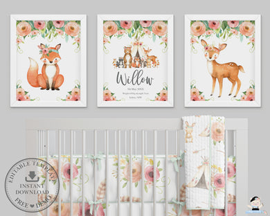 Tribal Floral Deer Fox Teepee Woodland Nursery Wall Art - Instant Download - WG5