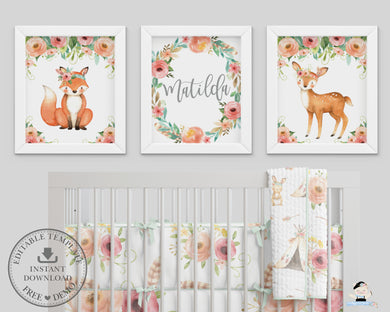 Tribal Floral Deer Fox Woodland Animals Nursery Wall Art - Instant Download - WG5