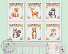 Load image into Gallery viewer, Tribal Pink Floral Greenery Woodland Animals Nursery Wall Art - Instant Download - WG5