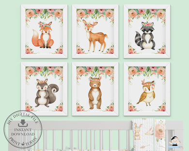 Tribal Pink Floral Greenery Woodland Animals Nursery Wall Art - Instant Download - WG5