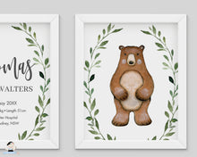 Load image into Gallery viewer, Greenery Bear Fox Woodland Animals Nursery Wall Art - Instant Download - WG7