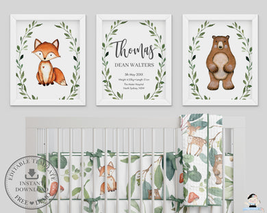Greenery Bear Fox Woodland Animals Nursery Wall Art - Instant Download - WG7