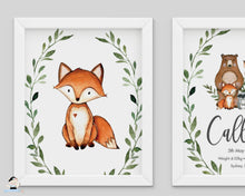Load image into Gallery viewer, Greenery Deer Fox Woodland Animals Nursery Wall Art - Instant Download - WG7