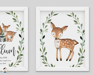 Greenery Deer Fox Woodland Animals Nursery Wall Art - Instant Download - WG7