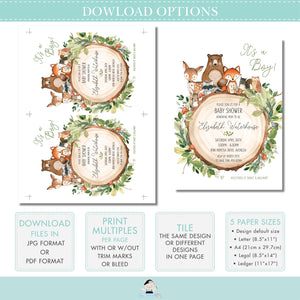 Woodland Animals Soft Blush Pink Floral Baby Shower Invitation Editable Template - Digital Printable File - Instant Download - WG15