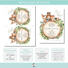 Load image into Gallery viewer, Rustic Greenery Woodland Animals 1st Birthday Milestone Sign Birth Stats Editable Template - Digital Printable File - Instant Download - WG7
