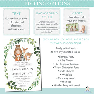Rustic Woodland Animals Baby Shower Invitation Editable Template - Instant Download - WG3