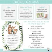 Load image into Gallery viewer, Chic Greenery Jungle Animals Gender Neutral 1st Birthday Wild One Invitation Editable Template - Digital Printable File - Instant Download - JA5