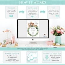 Load image into Gallery viewer, Cute Twin Girls Koala Pink Floral Eucalyptus Greenery Twins Baby Shower Invitation Editable Template - Instant Dowload - Digital Printable File - AU2