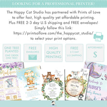 Load image into Gallery viewer, Purple Floral Elephant Baby Shower Bring a Book Instead of a Card Inserts - Instant Download - EP9