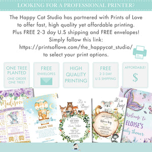 Drive By Baby Shower Cute Woodland Animals Invitation - Editable Template - Digital Printable File - Instant Download