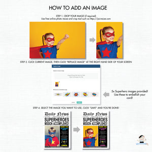 Superhero Birthday Party Invitation with Photo Editable Template - Instant Download - HP2