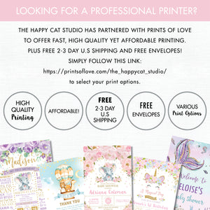 Elephant Blush Pink Floral Birthday Party Invitation with Photo - Editable Template - Instant Download Digital Printable File - EP5