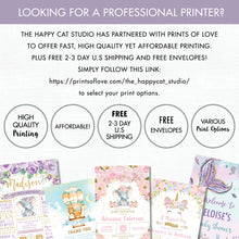 Load image into Gallery viewer, Rainbow Unicorn Pastel Floral 1st Birthday Party Invitation Editable Template Digital Printable File - Instant Download - UB8