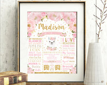 Load image into Gallery viewer, Blush Floral Llama 1st Birthday Milestone Sign Birth Stats - EDITABLE TEMPLATE Instant Download Digital Printable File- LM1