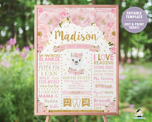 Blush Floral Llama 1st Birthday Milestone Sign Birth Stats - EDITABLE TEMPLATE Instant Download Digital Printable File- LM1
