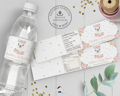 Chic Blush Pink Floral Llama Water Bottle Labels Editable Template - Digital Printable File - Instant Download - LM1