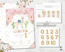 Load image into Gallery viewer, Chic Pink Floral Llama Fun Birthday Invitation Editable Template - Instant Download - Digital Printable File - LM1