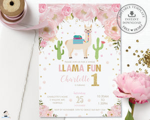 Chic Pink Floral Llama Fun Birthday Invitation Editable Template - Instant Download - Digital Printable File - LM1