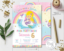 Load image into Gallery viewer, mermaid-and-pool-party-birthday-editable-template-diy-digital-printable-file-instant-download-blonde-blue-eyes