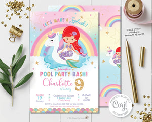 mermaid-and-unicorn-floatie-pool-party-birthday-invitation-easy-diy-editable-template-insant-download-digital-printable-file-red-hair-ariel-mermaid