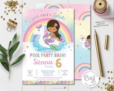 Mermaid and Unicorn Pool Party Birthday Invitation Brown Skin Tone - Instant EDITABLE TEMPLATE Digital Printable File - MU1