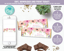 Load image into Gallery viewer, pink-floral-gold-glitter-woodland-fairy-hershey-aldi-chocolate-bar-candy-bar-wrapper-labels-editable-template-digital-printable-file-pdf-diy-instant-download