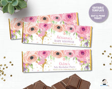 Load image into Gallery viewer, spring-pink-floral-gold-glitter-fairy-hershey-aldi-chocolate-bar-candy-bar-wrapper-labels-editable-template-digital-printable-file-pdf-diy-instant-download