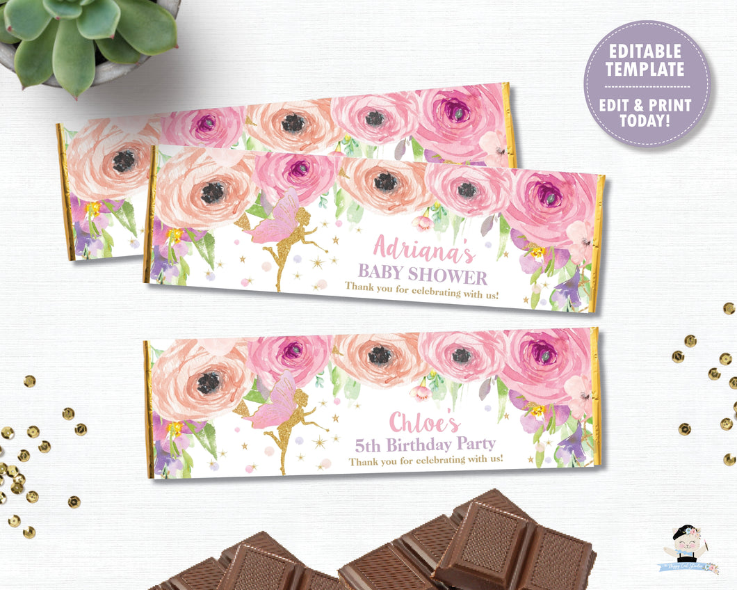 spring-pink-floral-gold-glitter-fairy-hershey-aldi-chocolate-bar-candy-bar-wrapper-labels-editable-template-digital-printable-file-pdf-diy-instant-download