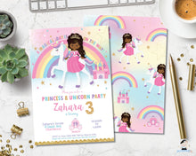 Load image into Gallery viewer, African american princess on a rainbow unicorn birthday party invitation editable template digital file