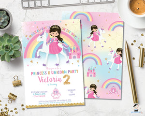 Princess and unicorn birthday party brunette brown hair invitation digital editable template