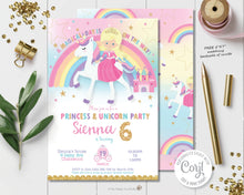 Load image into Gallery viewer, Blonde princess and rainbow unicorn birthday party personalized invitation editable template