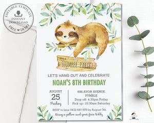 Cute Greeenery Sloth Sleepover Slumber Party Invitation Editable Template - Instant Download - SL2