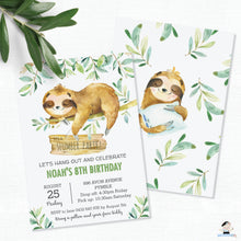 Load image into Gallery viewer, Cute Greeenery Sloth Sleepover Slumber Party Invitation Editable Template - Instant Download - SL2