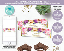 Load image into Gallery viewer, Summer Purple Floral Chocolate Candy Bar Wrapper for Hershey and Aldi Chocolates - Instant EDITABLE TEMPLATE Digital Printable File- PF1