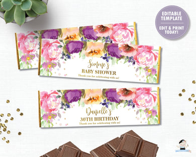 Summer Purple Floral Chocolate Candy Bar Wrapper for Hershey and Aldi Chocolates - Instant EDITABLE TEMPLATE Digital Printable File- PF1