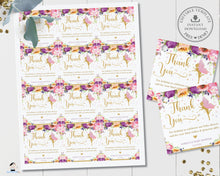 Load image into Gallery viewer, Chic Purple Floral Fairy Thank You Favor Tags Square 6.5cm - Editable Template - Digital Printable File - Instant Download - FF2