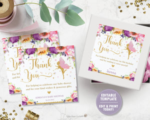 Chic Purple Floral Fairy Thank You Favor Tags Square 6.5cm - Editable Template - Digital Printable File - Instant Download - FF2