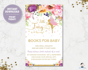 purple-floral-fairy-gold-glitter-bring-a-book-instead-of-a-card-insert-digital-printable-file-instant-download