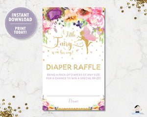Summer Floral Fairy Diaper Raffle Tickets Digital Printable File - INSTANT DOWNLOAD - FF2