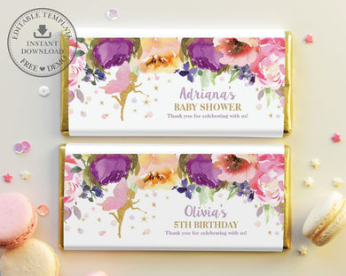 purple-floral-fairy-chocolate-candy-bar-wrappers-for-hersheys-aldi-easy-diy-editable-template-instant-download-digital-printable-file-pdf