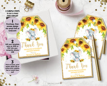 Load image into Gallery viewer, Sunflower Elephant Thank You Favor Tags - EDITABLE TEMPLATE Digital Printable File - INSTANT DOWNLOAD - EP8
